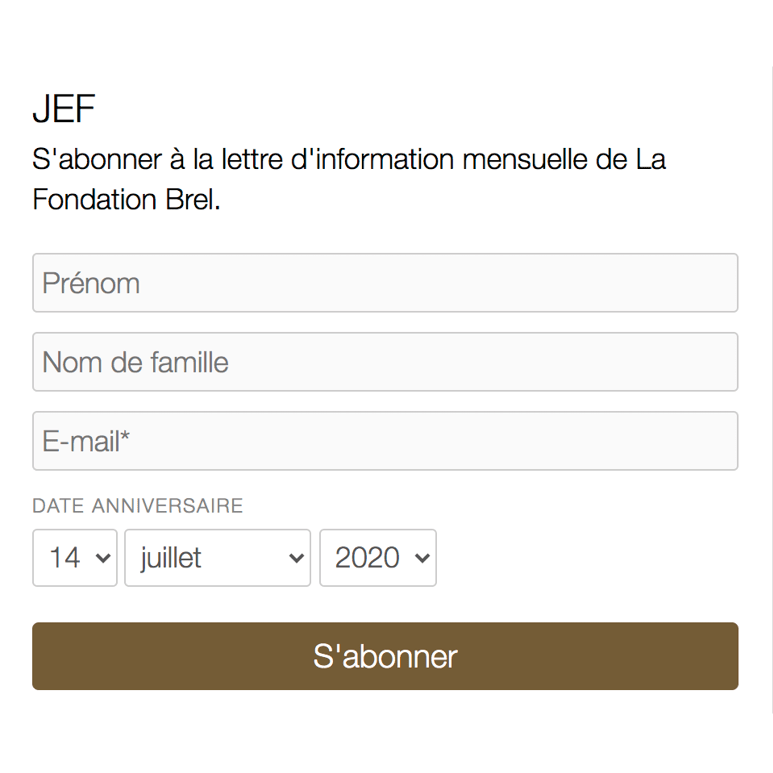 S'abonner à Jef, notre newsletter mensuelle